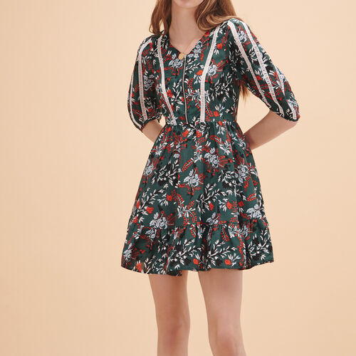 Frilled printed dress - Dresses - MAJE