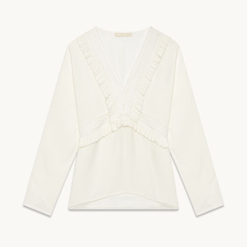 Frilled crêpe top - Tops & Shirts - MAJE