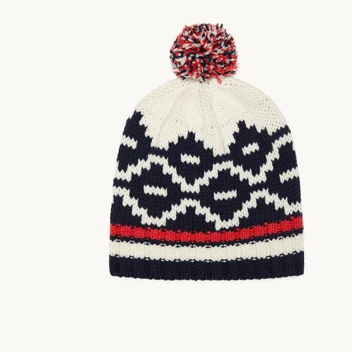 Jacquard knit beanie with pompom - Knit - MAJE