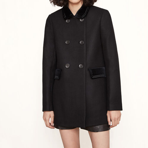 Short coat with velvet details - Coats - MAJE