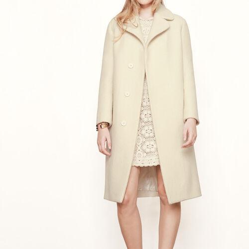 Long boiled wool coat - Coats - MAJE