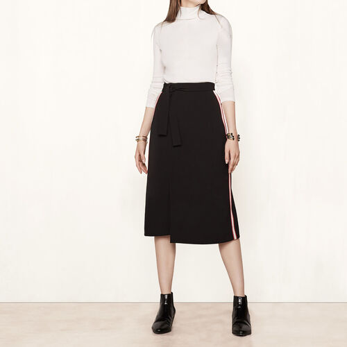 Wraparound skirt with side bands - Skirts & Shorts - MAJE