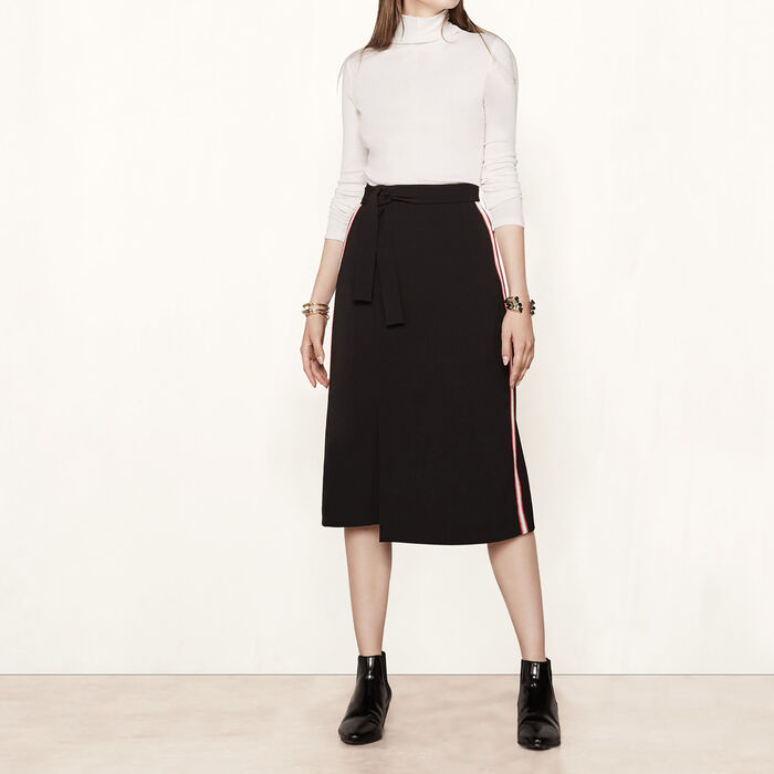 Wraparound skirt with side bands -  - MAJE