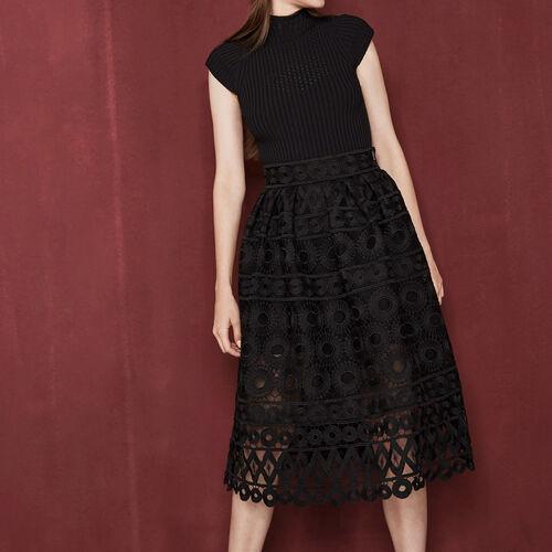 Midi bonded guipure skirt - Skirts & Shorts - MAJE