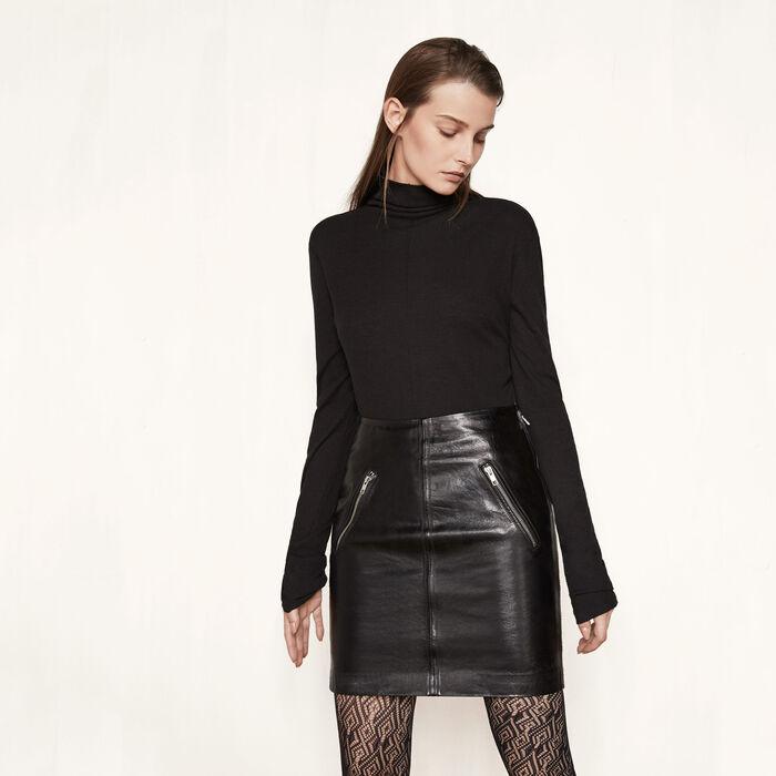 Short leather skirt - Skirts & Shorts - MAJE