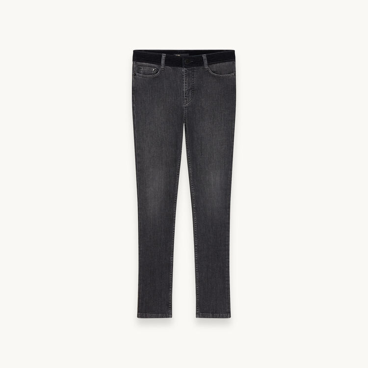 Slim jeans with velvet belt - Trousers & Jeans - MAJE
