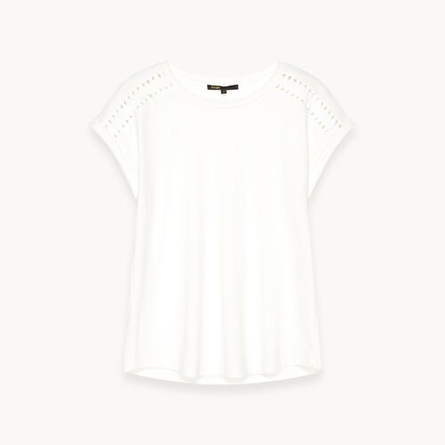 Cotton T-shirt with braided details - Tops - MAJE