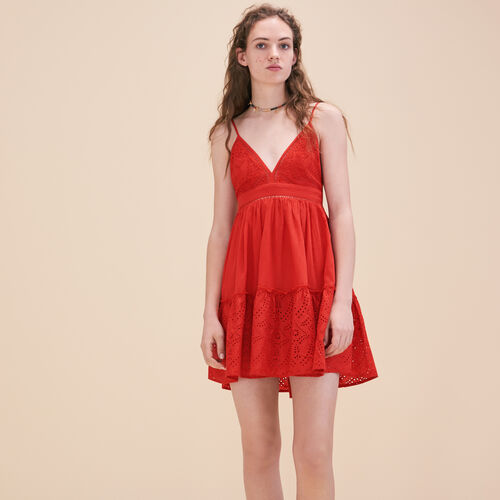 Embroidered dress with narrow straps - Dresses - MAJE