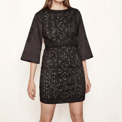 Short satin dress embroidered with beads - Dresses - MAJE