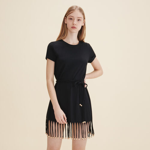 Dress with iridescent fringing - Dresses - MAJE