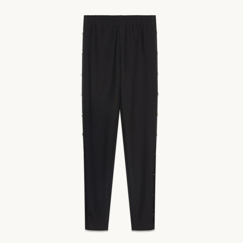 Crêpe trousers with press studs - Pants & Jeans - MAJE