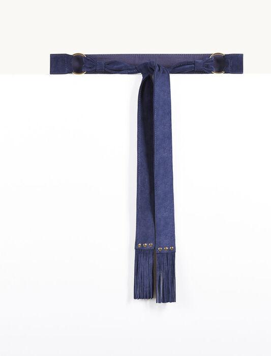 Goatskin suede tie belt -  - MAJE