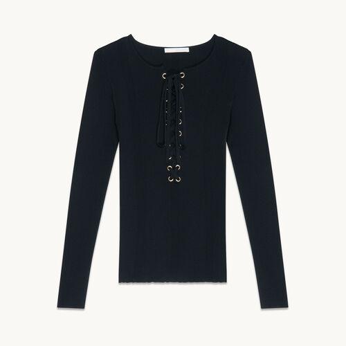 Locknit jumper with lacing - Sweaters - MAJE