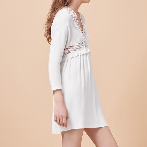 Crêpe dress with openwork details - Dresses - MAJE