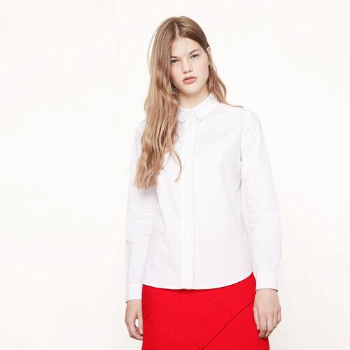 Camisa de algodón con galón plisado - Tops - MAJE