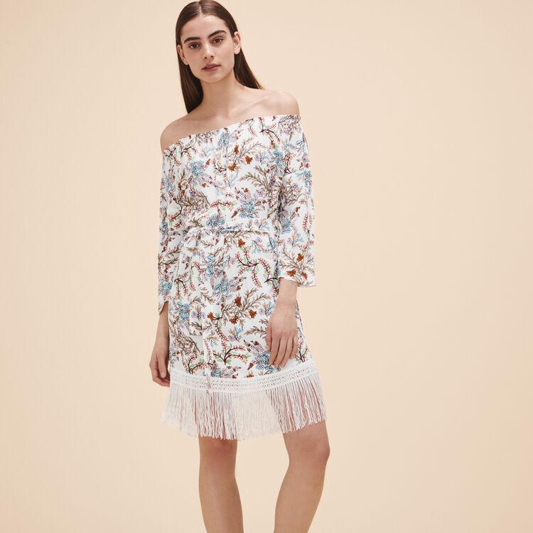 Robe imprimée avec franges - Robes - MAJE