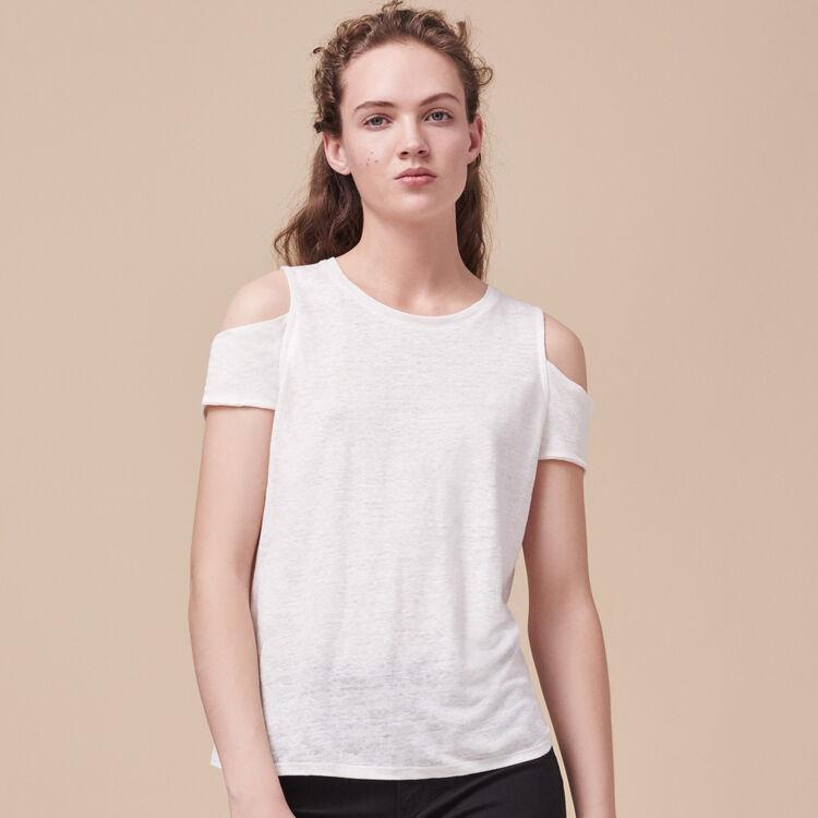 Tee-shirt en lin avec épaules dénudées - Hauts - MAJE