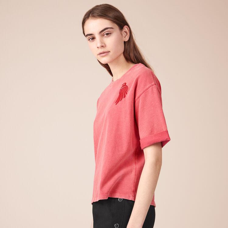 Tee-shirt en coton avec broderie - Tee-Shirts - MAJE