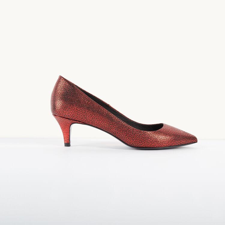 Escarpins en cuir à effet craquelé - Chaussures - MAJE
