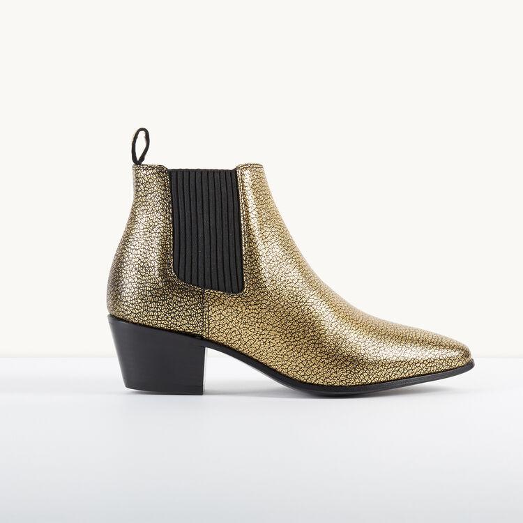 Bottines chelsea en cuir craquelé - Chaussures - MAJE