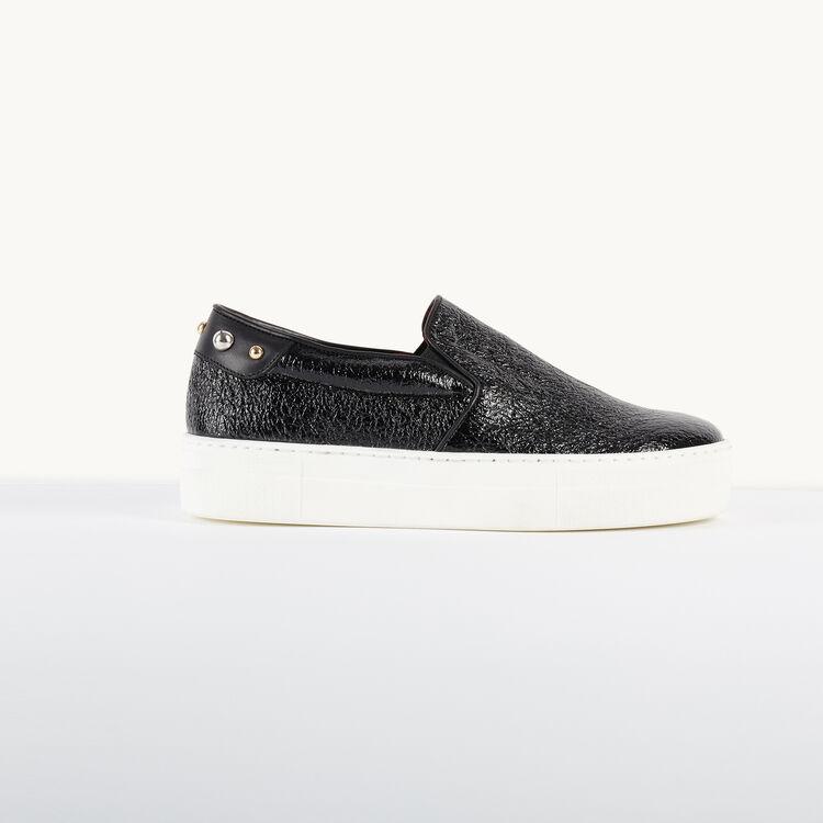 Slips-on en cuir craquelé - Chaussures - MAJE