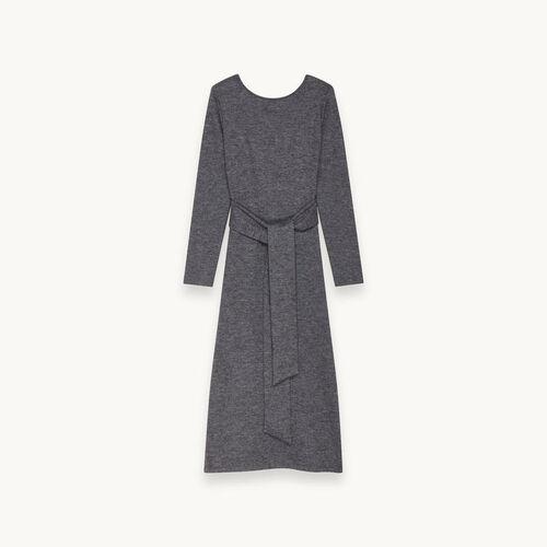 Robe ceinturée en maille de laine - Robes - MAJE