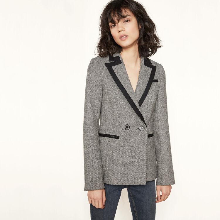 Blazer en laine avec liseré contrastant - Vestes - MAJE