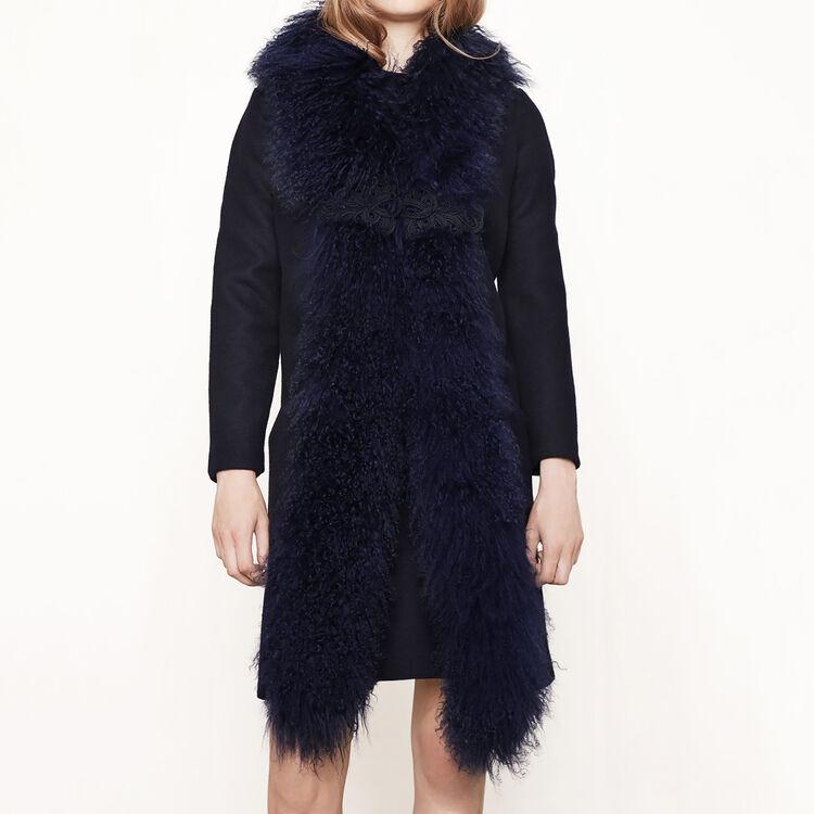 Manteau long avec fourrure frisée - Manteaux - MAJE