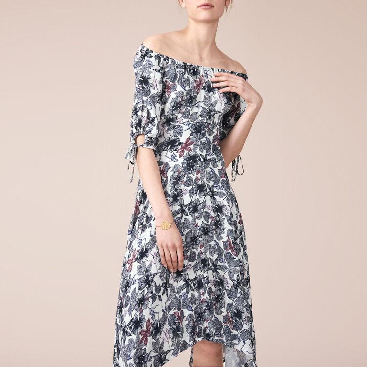 Robe longue en crêpe imprimé - Robes - MAJE