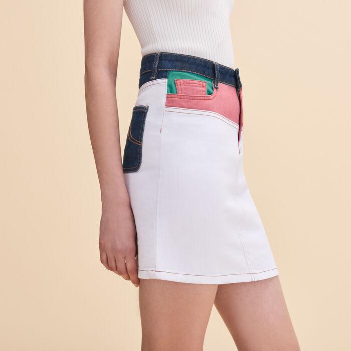 Jupe courte en denim multicolore - Jupes & Shorts - MAJE