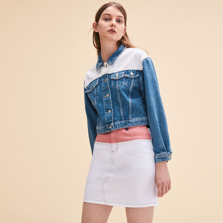Veste en jean bicolore - Vestes - MAJE