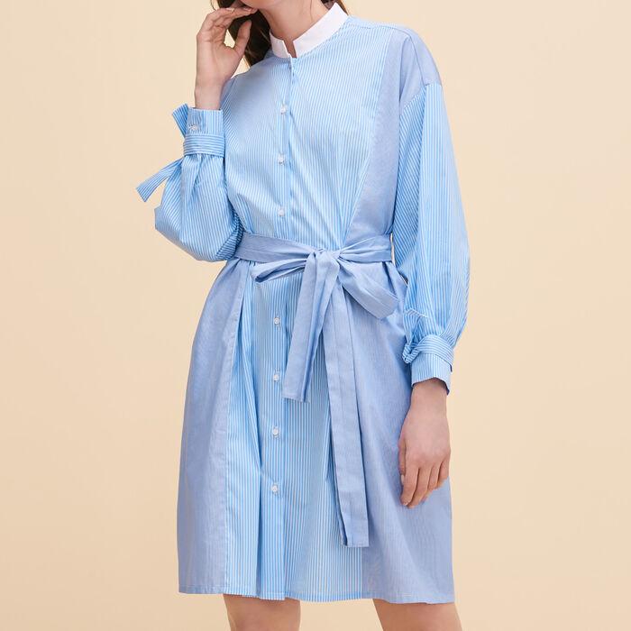Robe chemise à rayures -  - MAJE