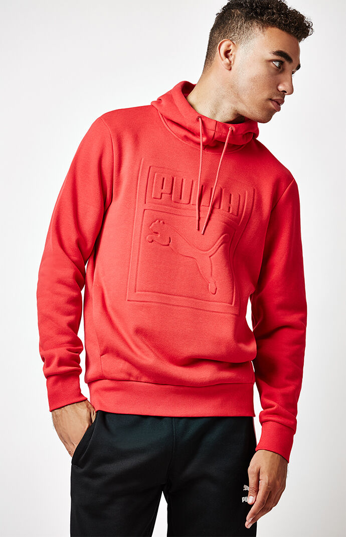 Puma Archive Embossed Red Pullover Hoodie 6516231