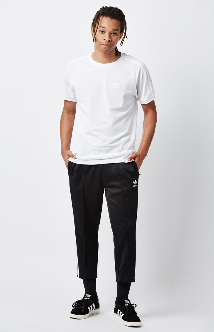 adidas Relaxed Black & White Crop Track Pants - Black/white 5876917