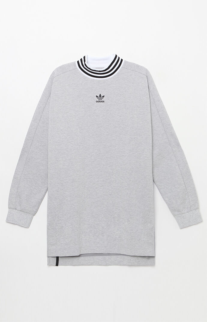 adidas Ribbed Mock Neck Long Sleeve T-Shirt - Heather Grey 6564751