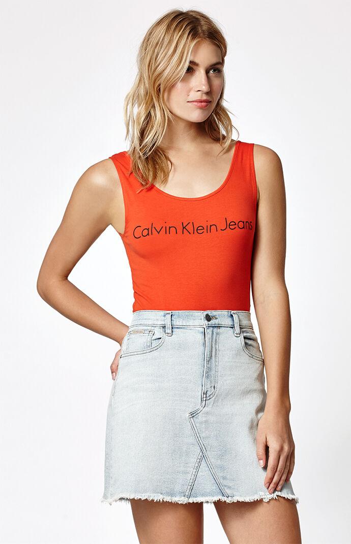 Calvin Klein A-Line Denim Mini Skirt - Indigo Blue 6625933