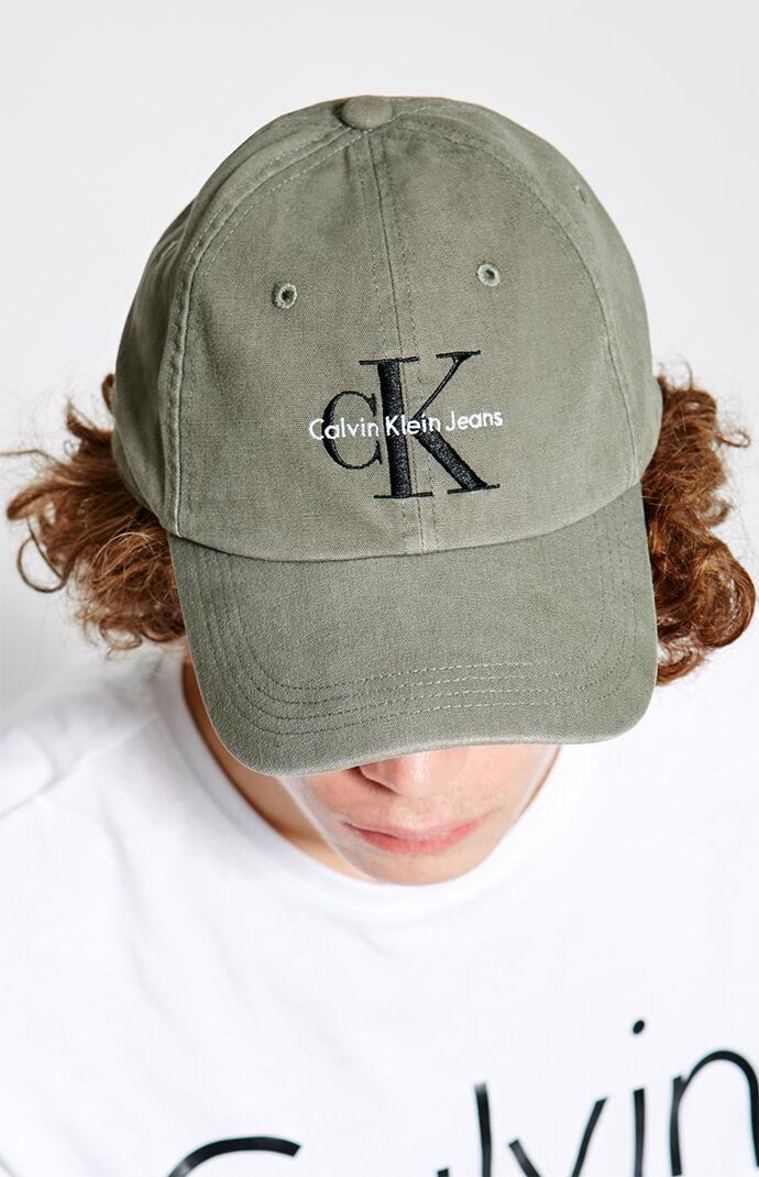 Calvin Klein Twill Reissue Strapback Dad Hat - Olive 6544514