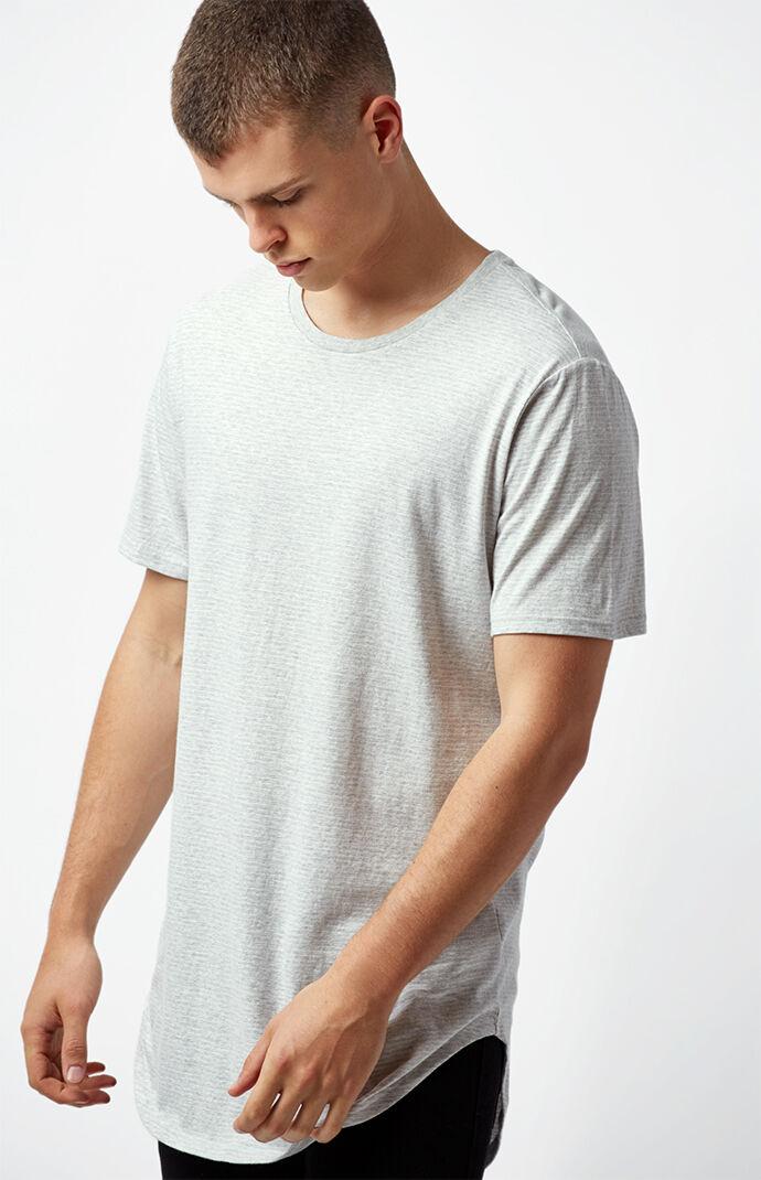 PacSun Jerome Striped Scallop T-Shirt - White/grey 7013972