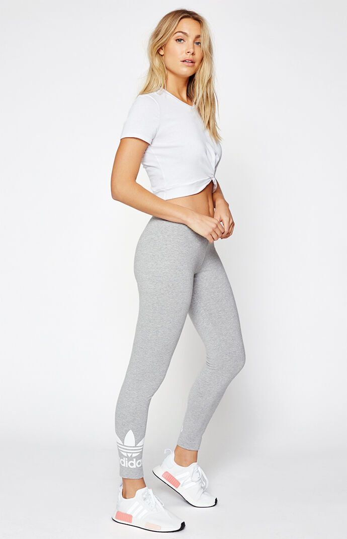 adidas Trefoil Logo Leggings - E. Heather Grey 6465074