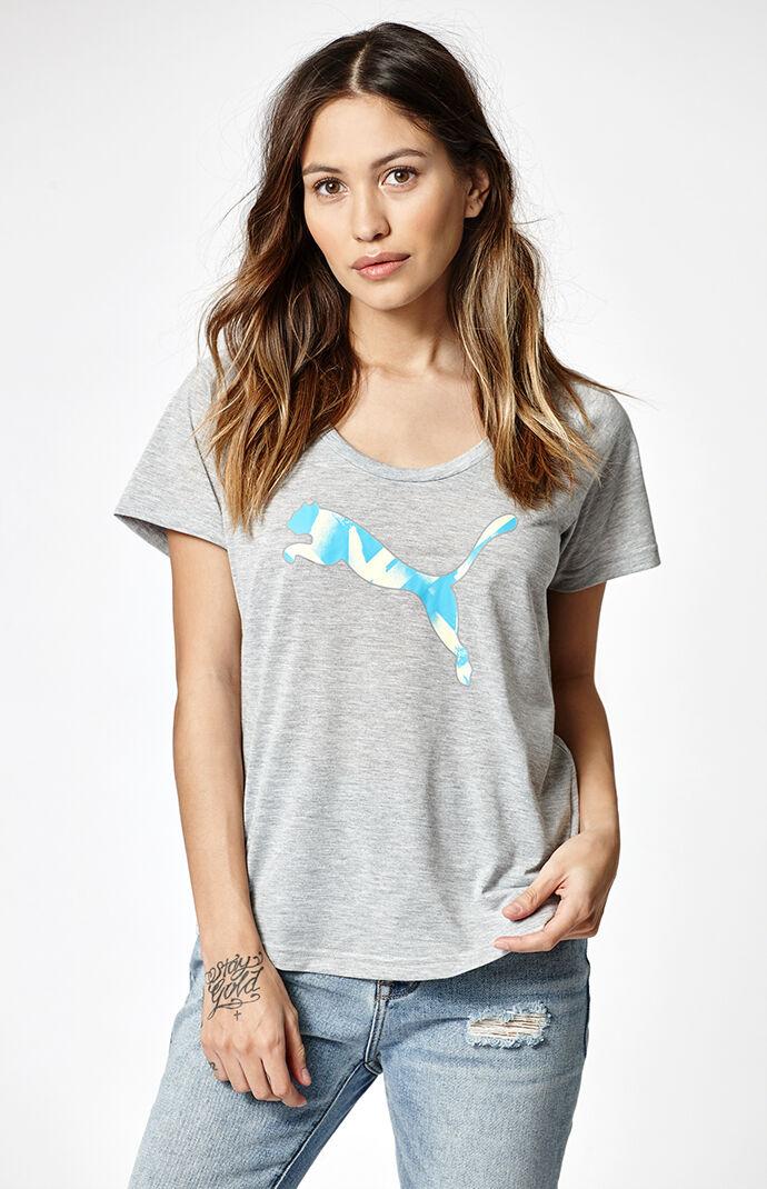 Puma Elevated Sporty Scoop Neck T-Shirt - E. Heather Grey 6191449