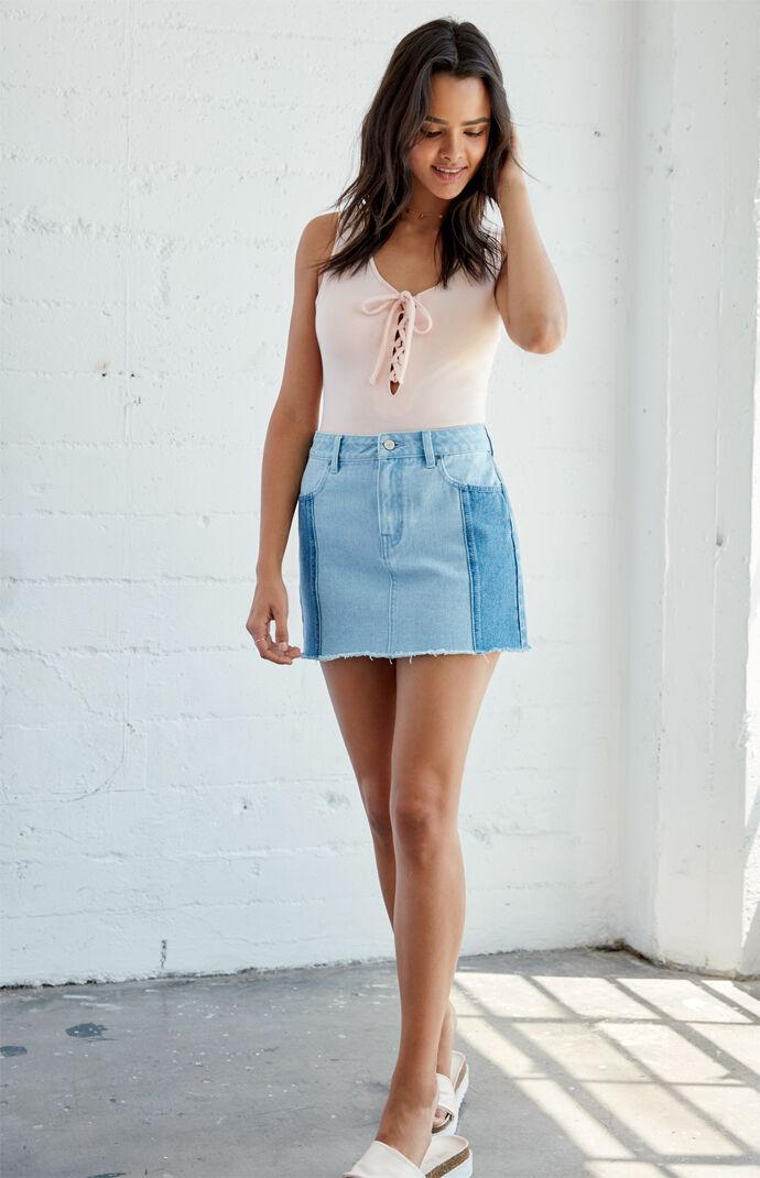 Me To We Alyssa Lace-Up Bodysuit - Nude 6519128
