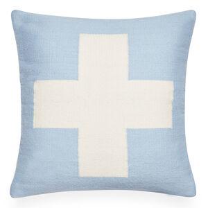 Cushions & Throws - Reversible Light Blue Cross Pop Cushion