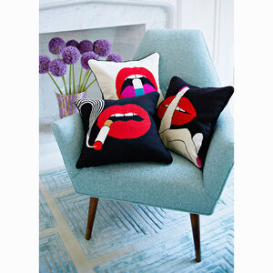 Cushions & Throws - Lips Hush Needlepoint Throw Pillow