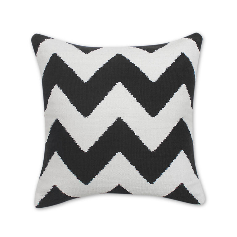 Cushions & Throws - Black And Natural Zig Zag Pop Cushion