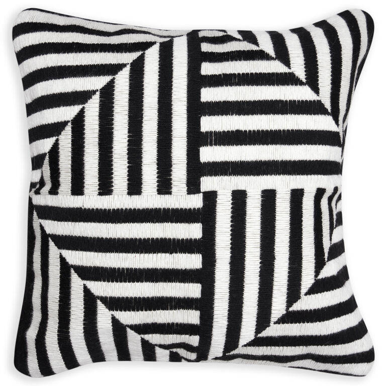 Holding Category - Black and White Windmill Bargello Cushion