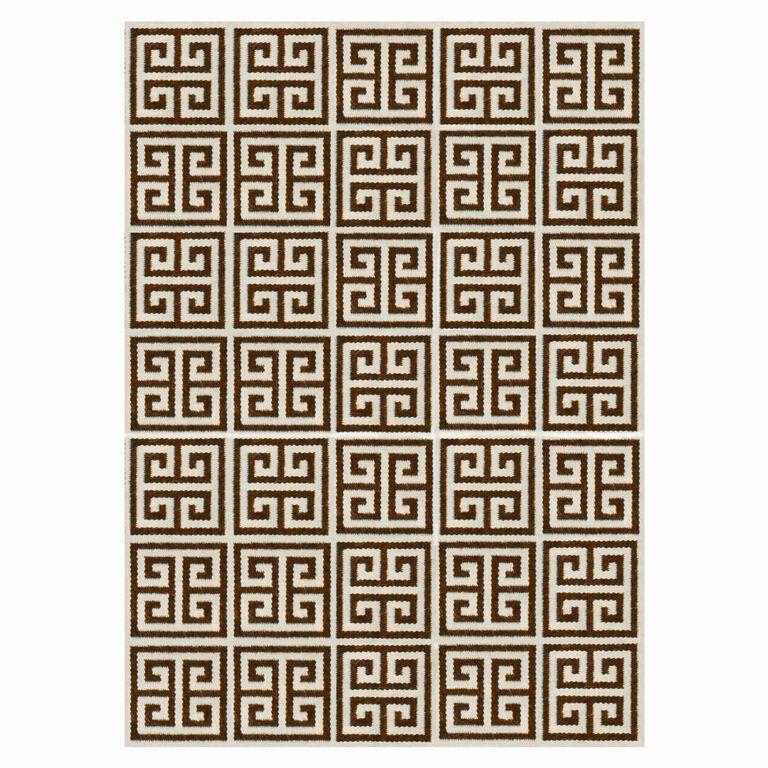Peruvian Llama Flat Weave - Brown Greek Key Peruvian Llama Flat Weave Rug