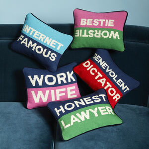 ALL NEW - Honest Banker Needlepoint Pillow