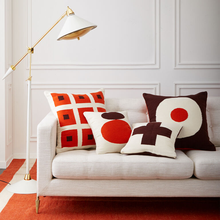 All Bedding - Reversible Orange/Chocolate Cross Pop Throw Pillow