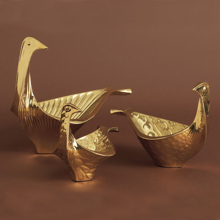 Holding Category - Menagerie Small Gold Glazed Ceramic Bird Bowl