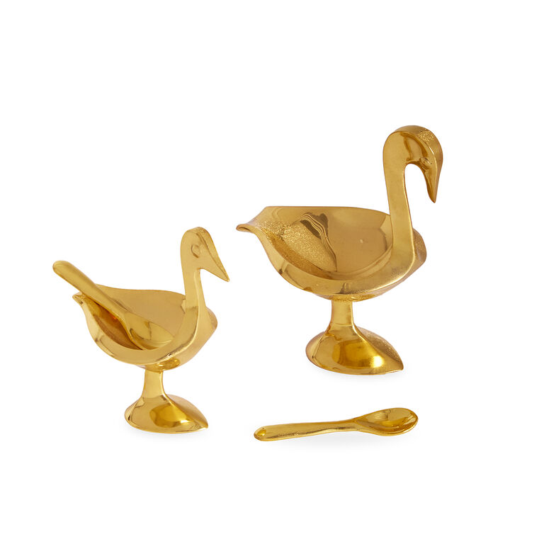 Salt & Pepper Shakers - Brass Bird Salt Cellars